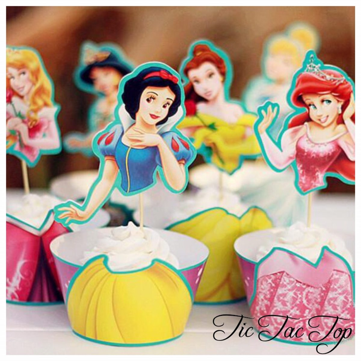 Six Princesses SPECIAL EDITION Cupcake Wrappers + Toppers