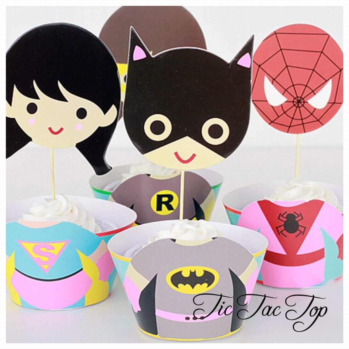 Supergirls Superhero SPECIAL EDITION Cupcake Wrappers + Toppers