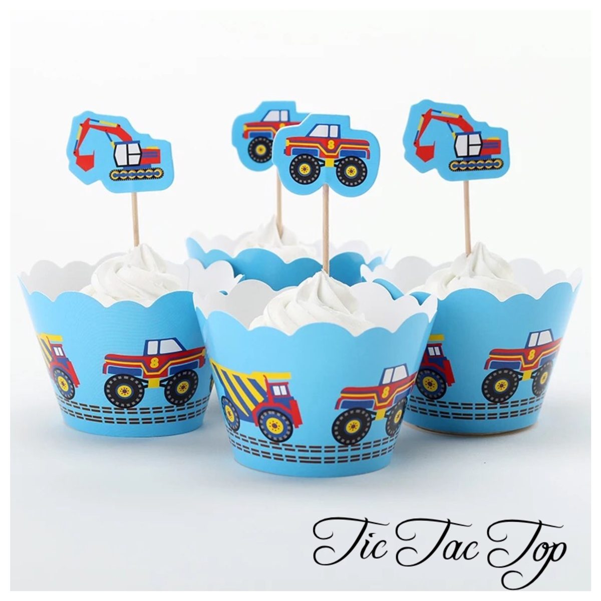 Construction Truck & Digger Cupcake Wrappers + Toppers