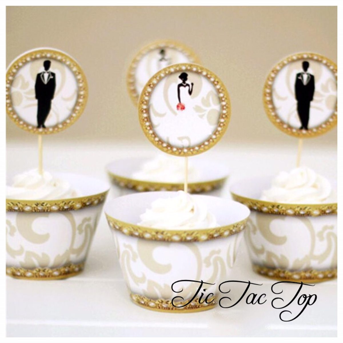 Wedding Special Cupcake Wrappers + Toppers