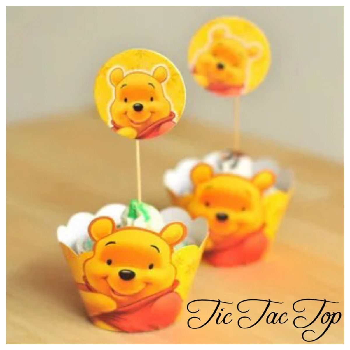 Winnie The Pooh Cupcake Wrappers + Toppers