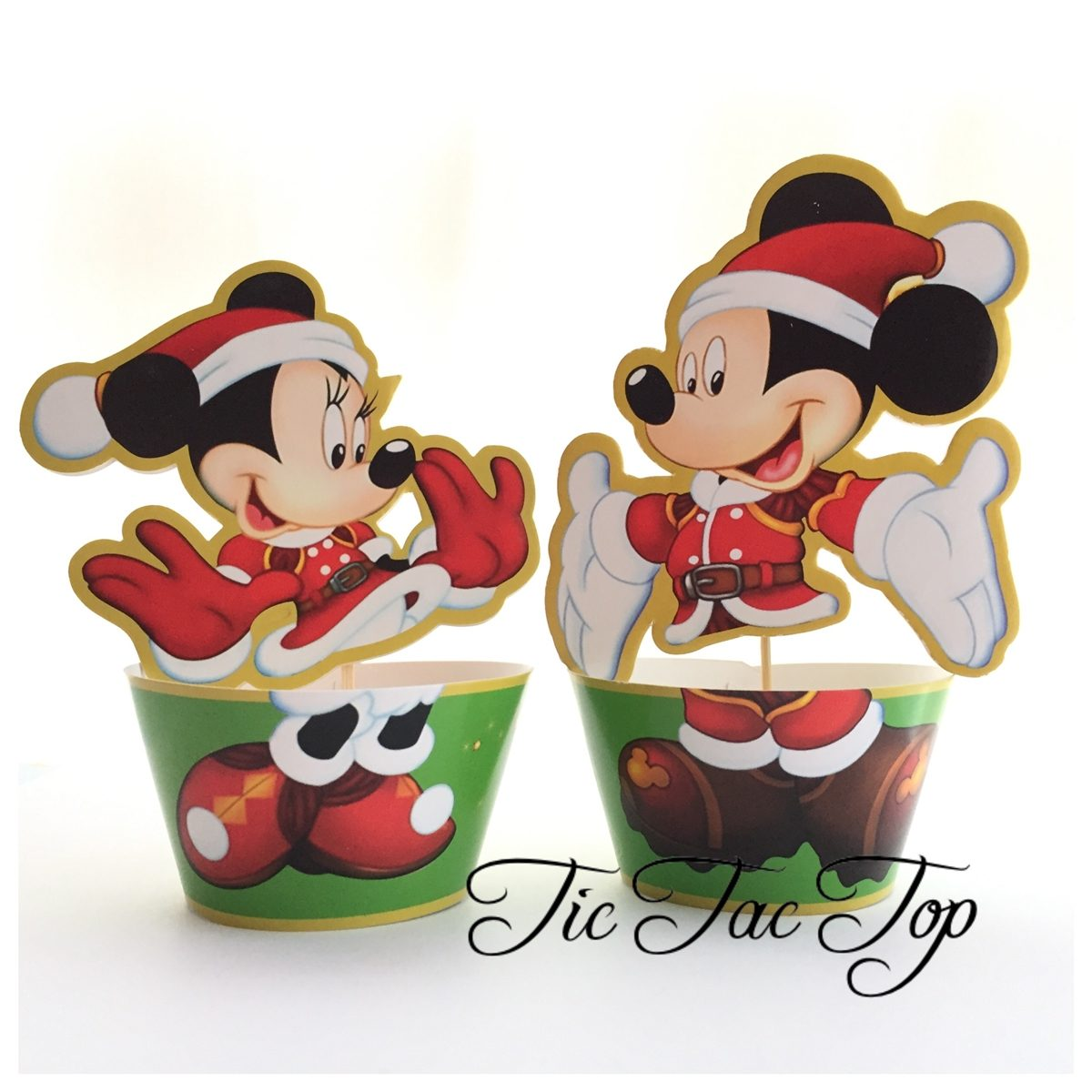 Xmas Mickey & Minnie Special Edition Cupcake Wrappers + Toppers