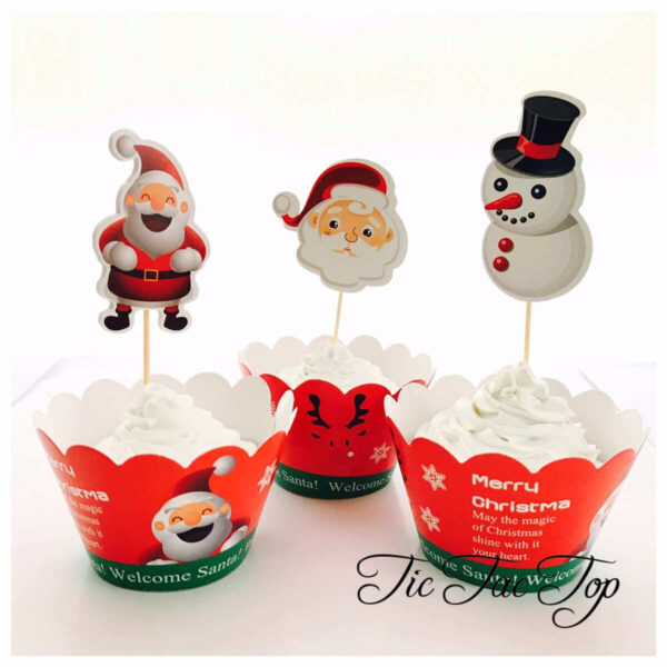 Christmas Celeration Cupcake Wrappers + Toppers