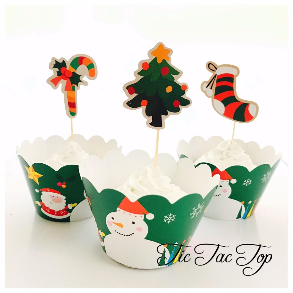 Christmas Tree Celeration Cupcake Wrappers + Toppers