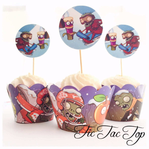 Plants Vs Zombies Cupcake Wrappers + Toppers